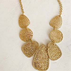 INC Gold Filagree Bib Necklace